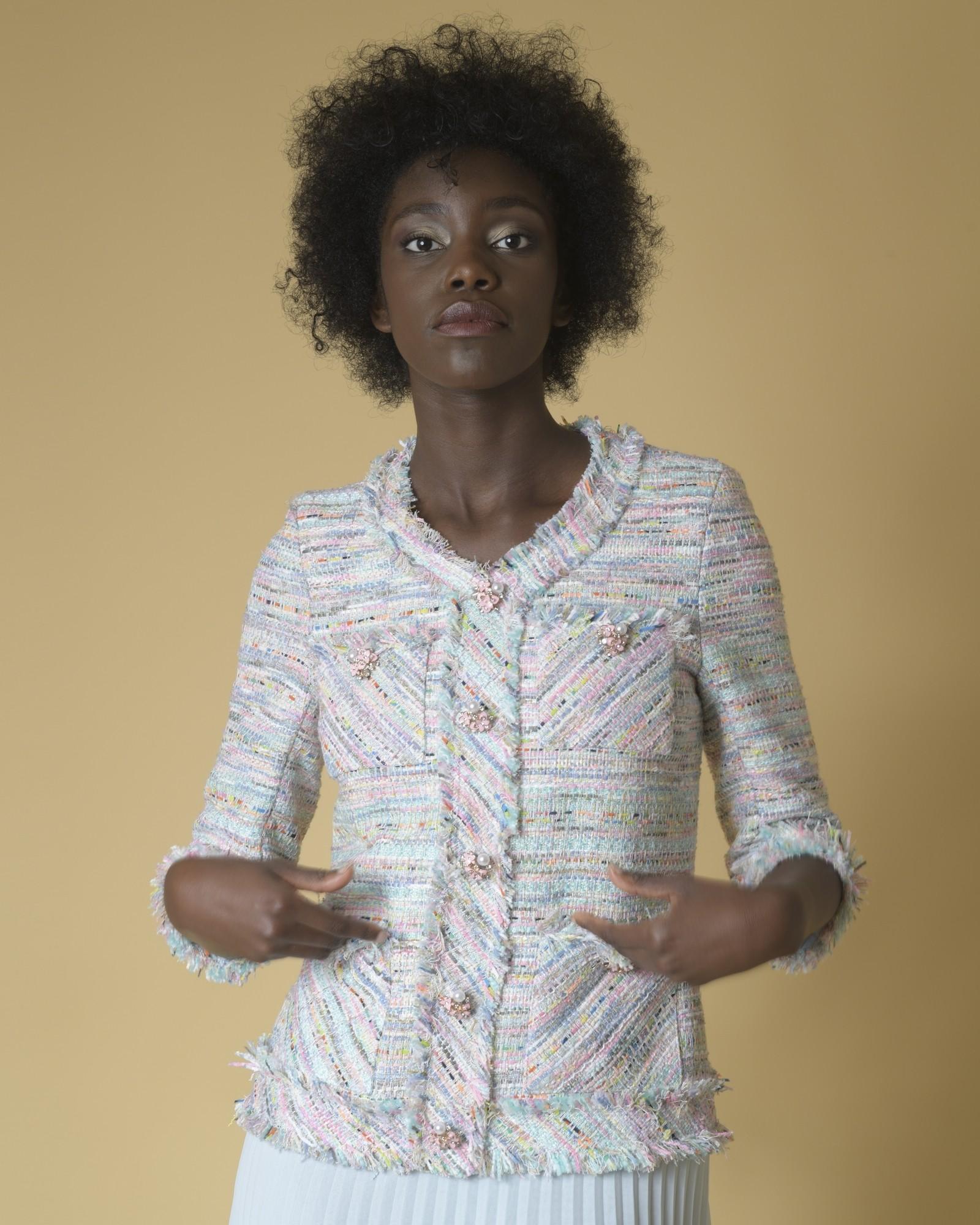 Robe en tweed et à plis Edward Achour