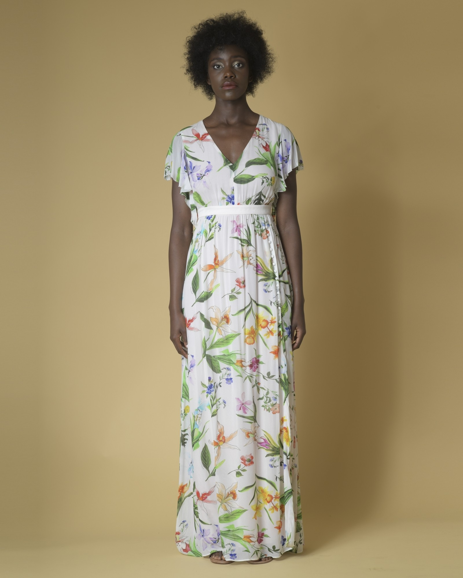 Robe longue en georgette à imprimé fleuri Nenette