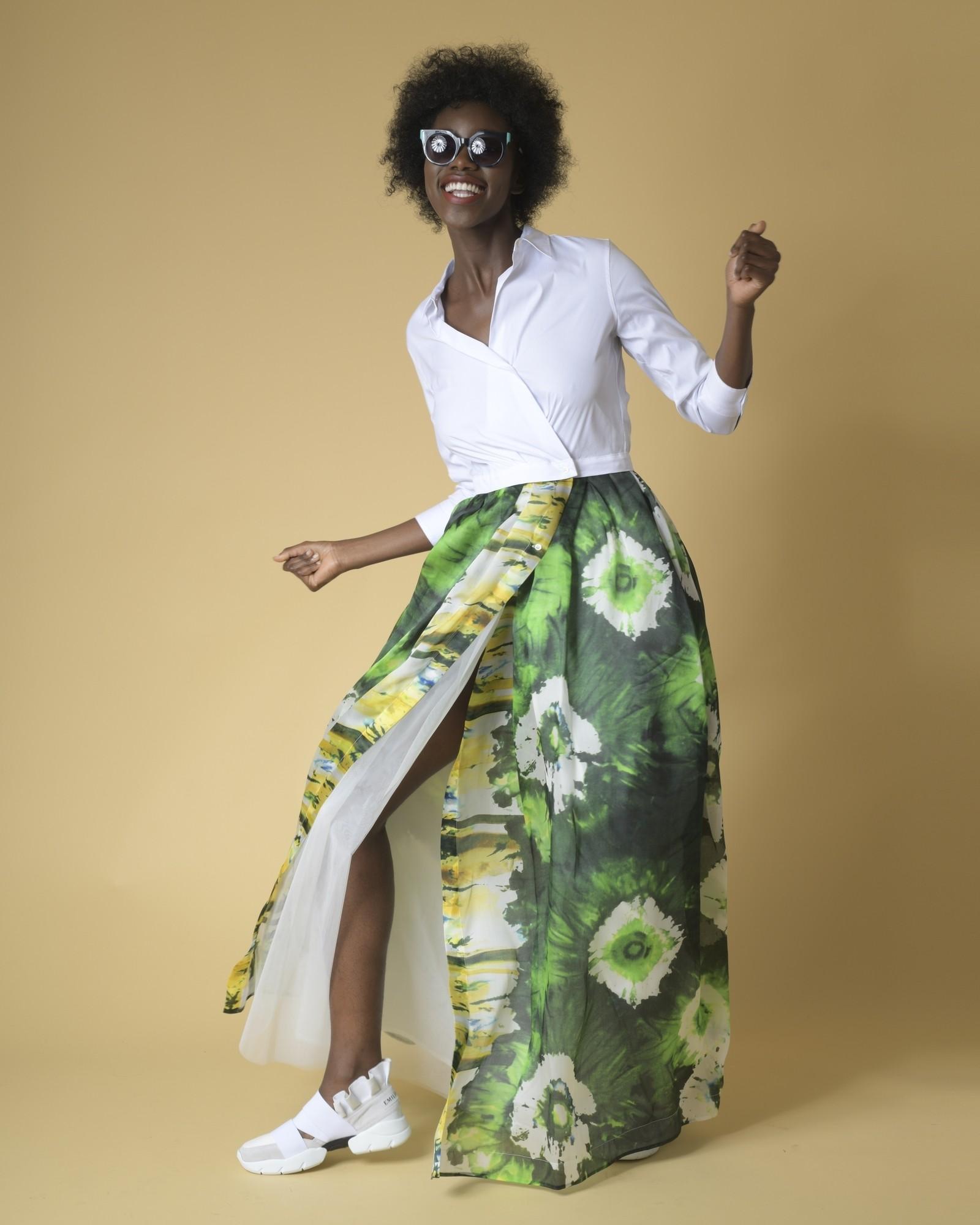 Robe longue haut chemise et jupe imprimés verts Sara Roka