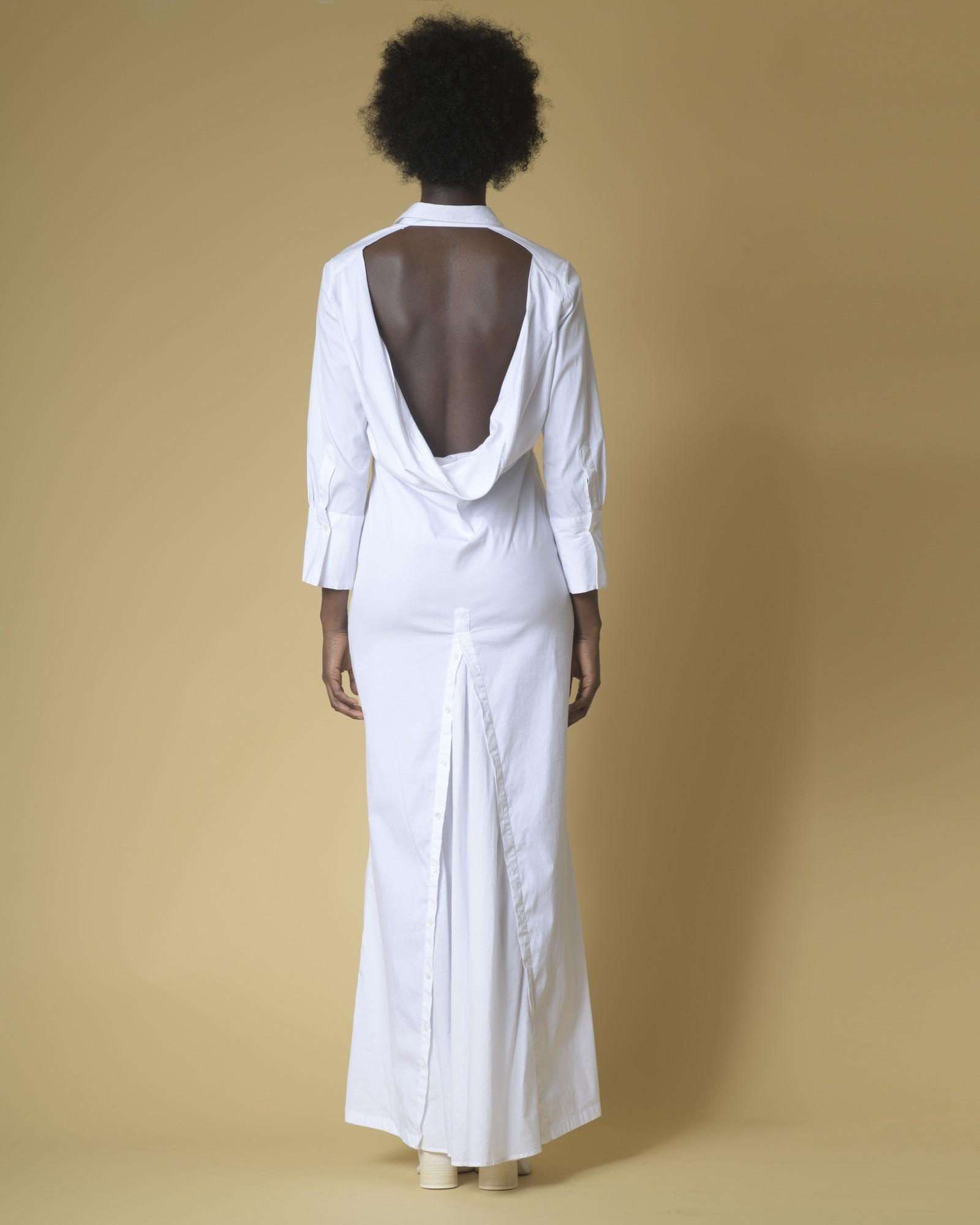 Robe chemise blanche dos nu Sara Roka