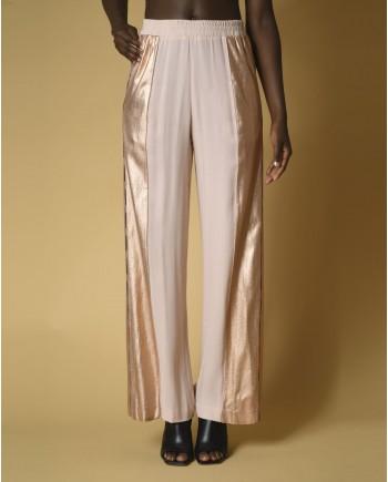 Pantalon de survêtement en crêpe à bandes métalliques Nude