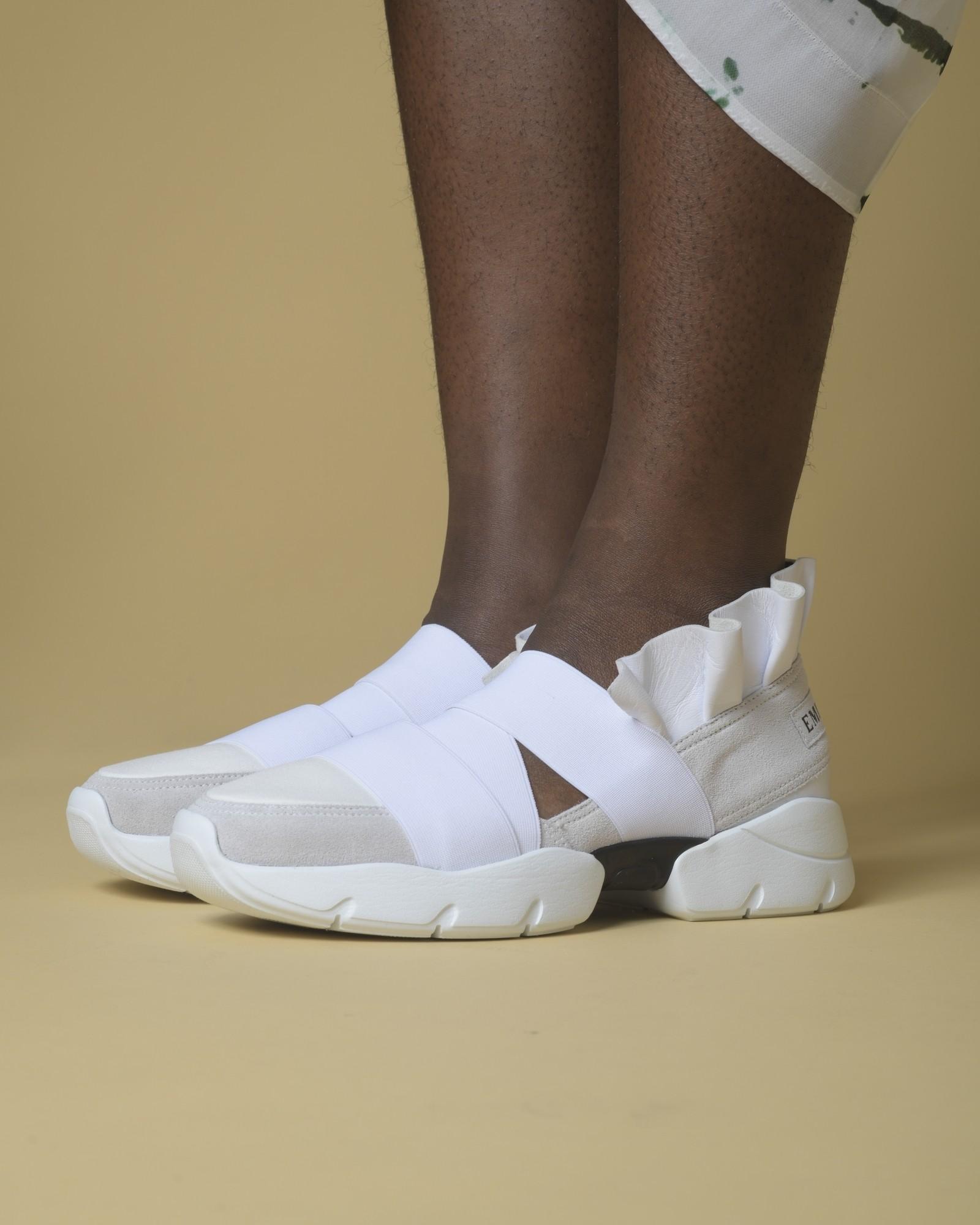 Baskets en cuir blanc à volants Emilio Pucci