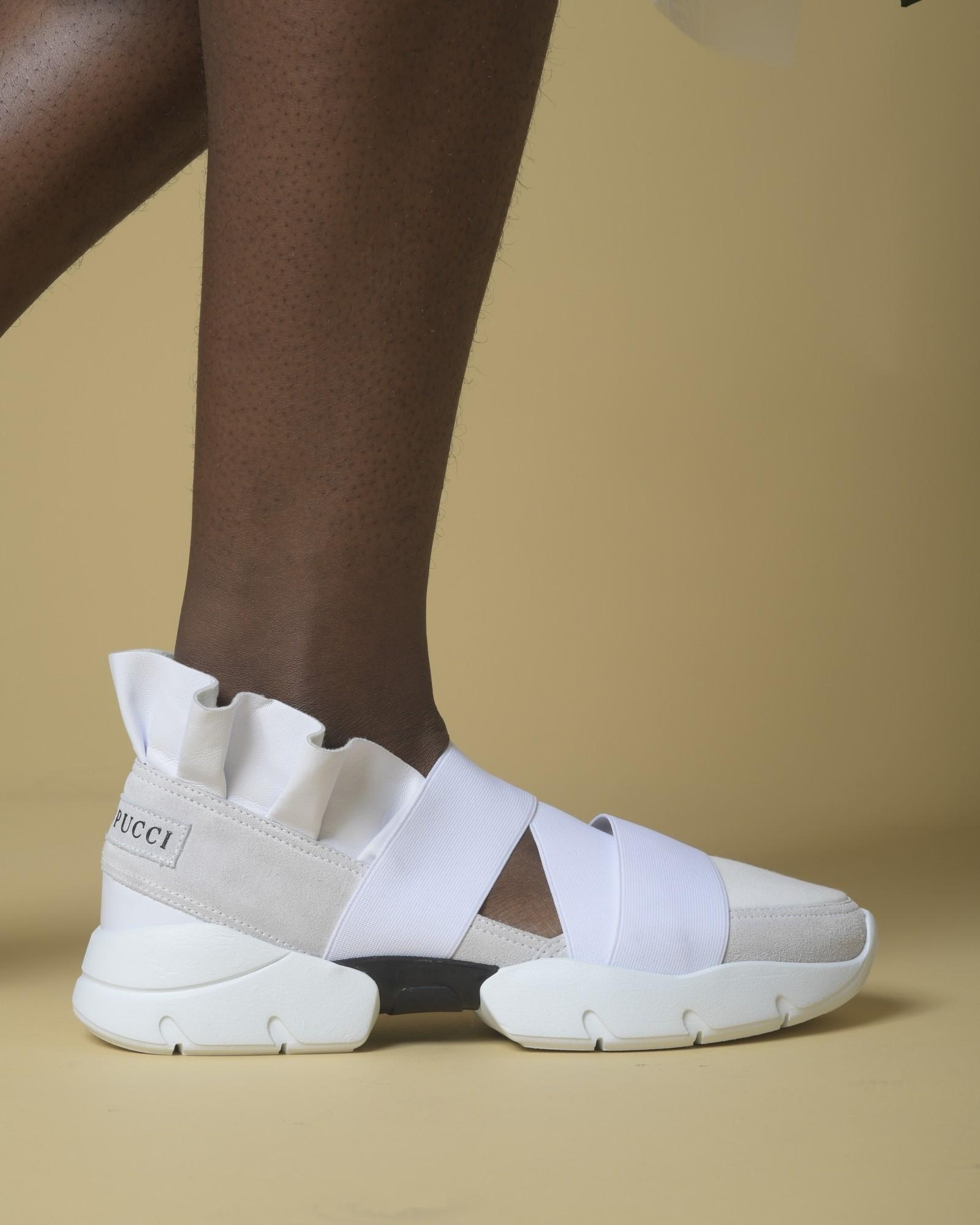 Baskets en cuir blanc à...