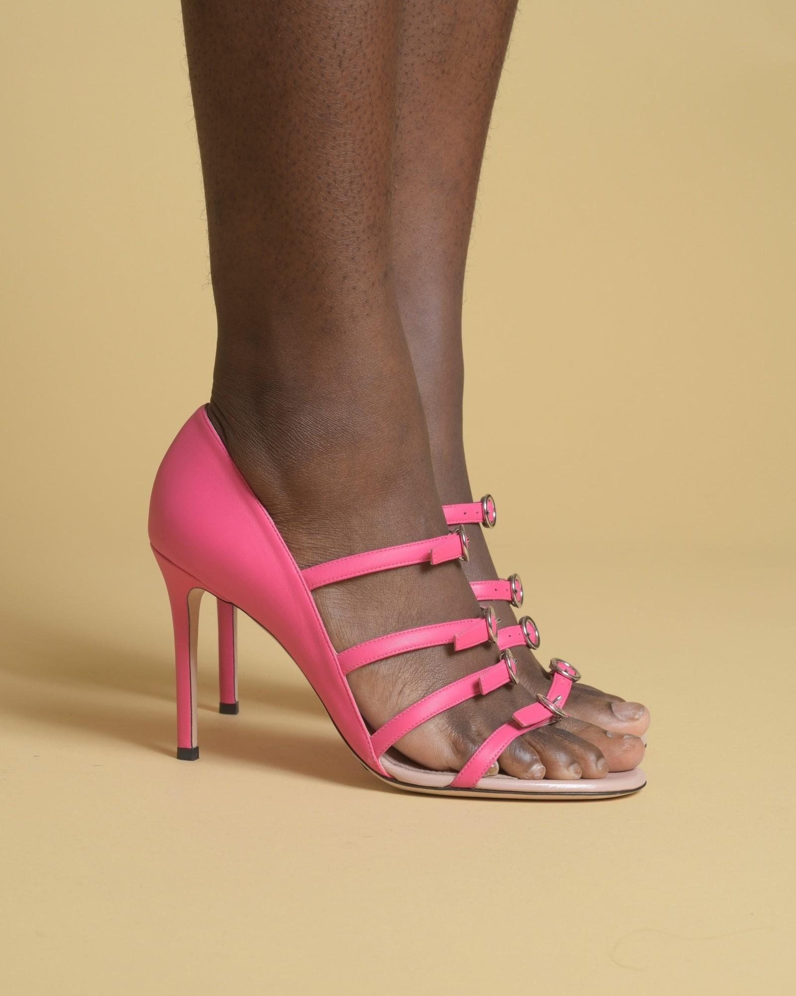 Sandales à talons en cuir à...