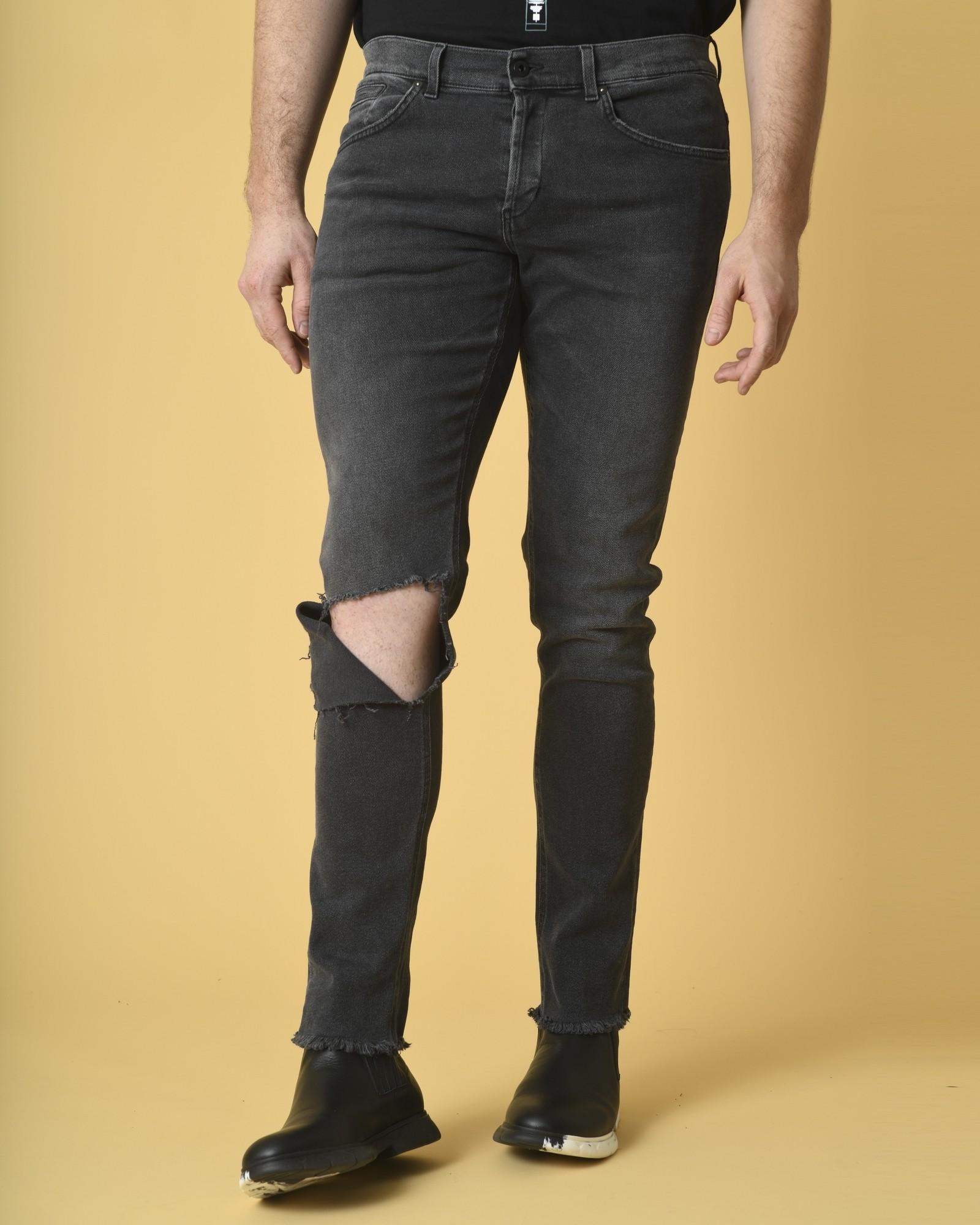 Jean skinny en coton gris à...