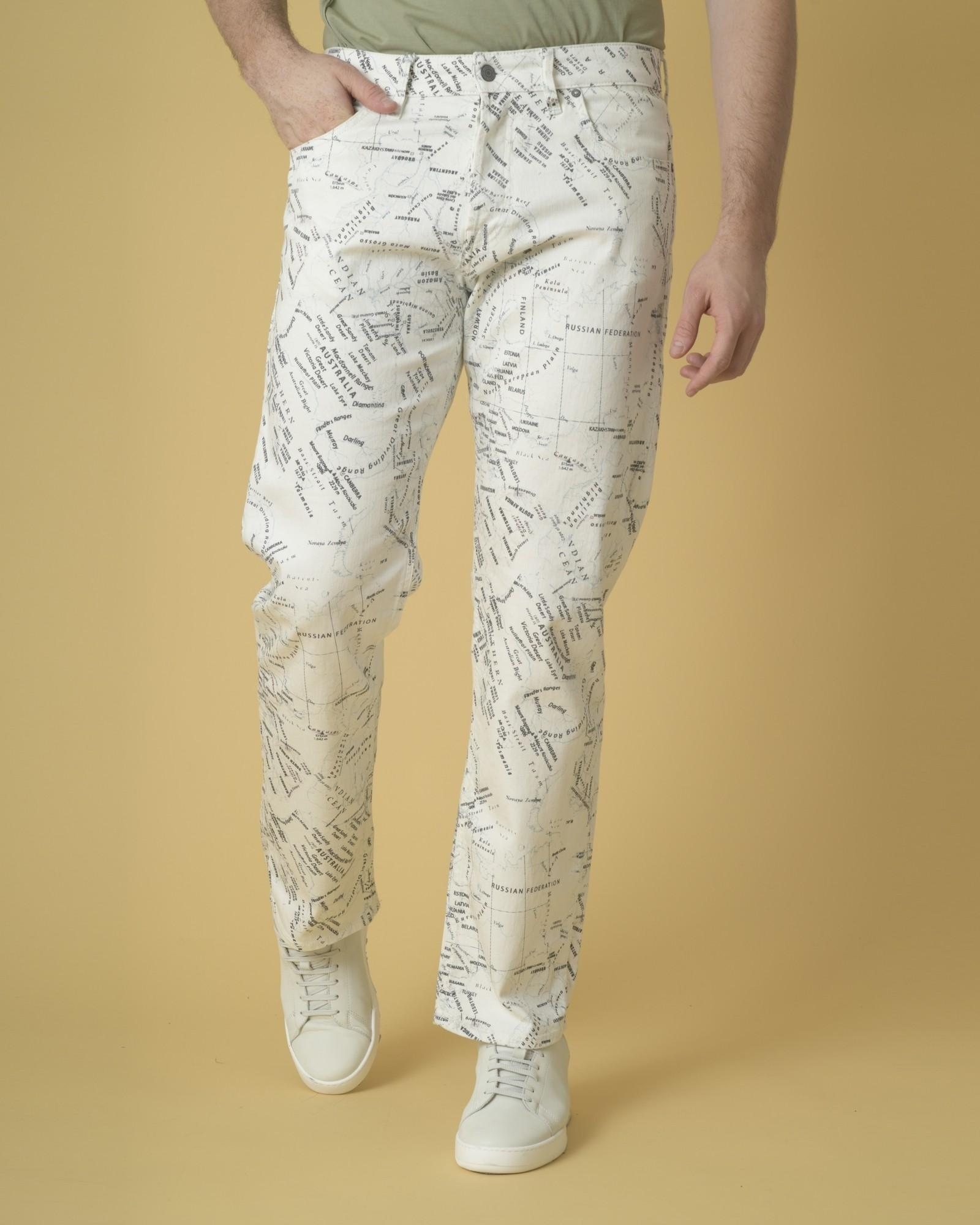 Jean large en coton blanc à...