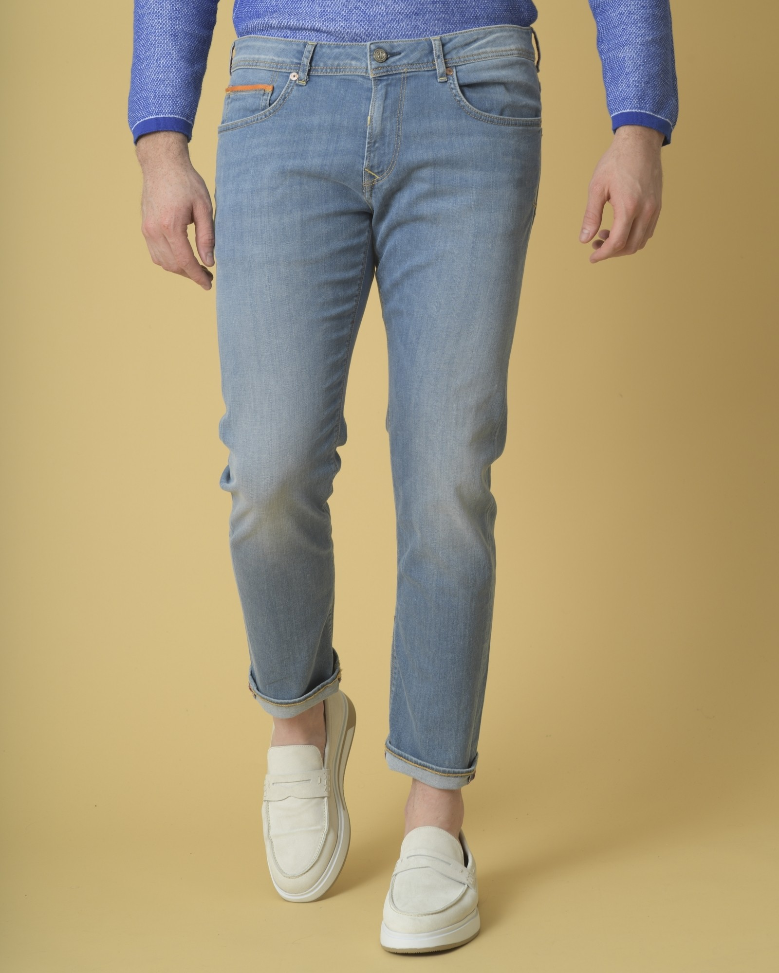Jean slim bleu clair délavé 3D