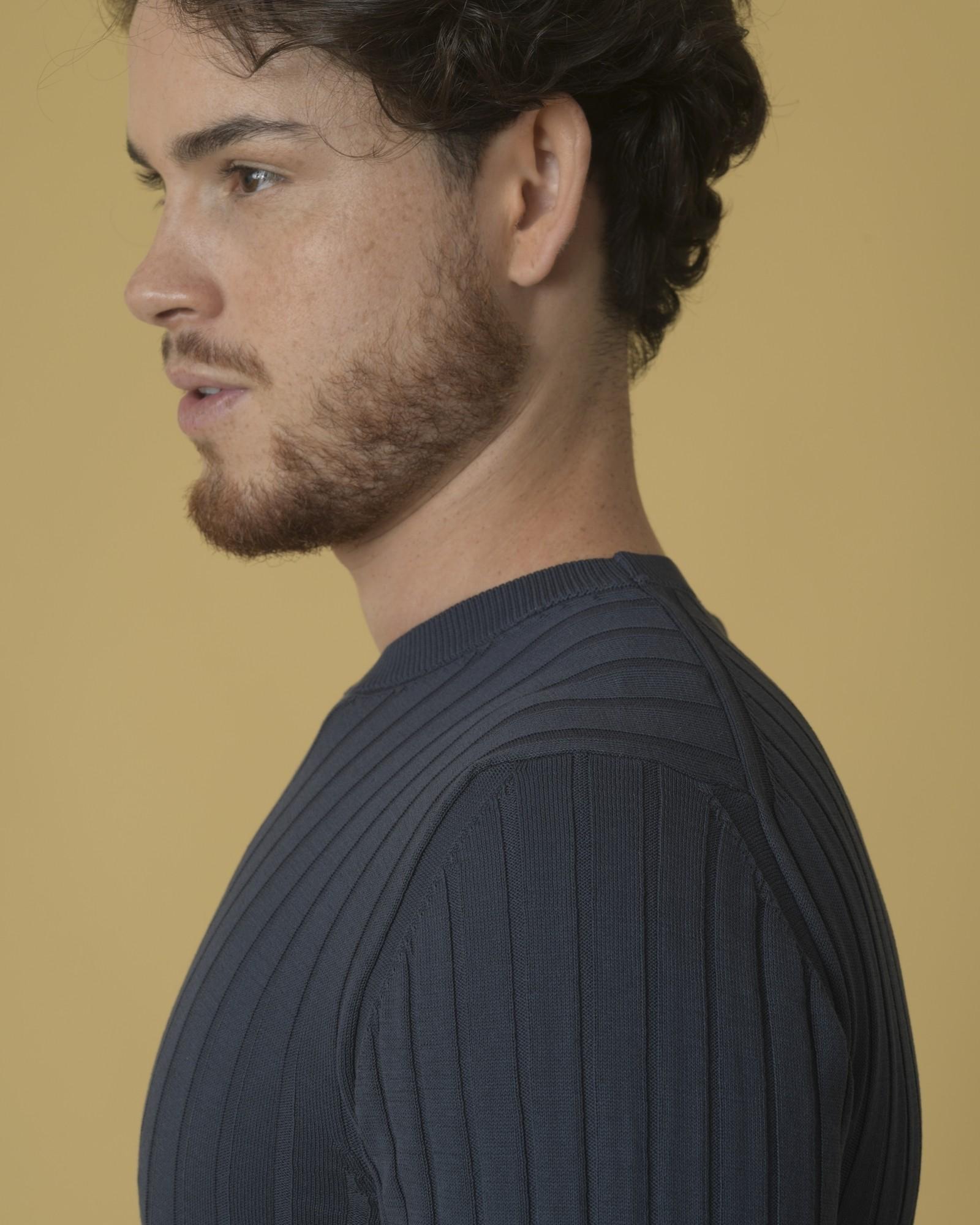 Pull en coton côtelé à motif rayures Daniele Fiesoli