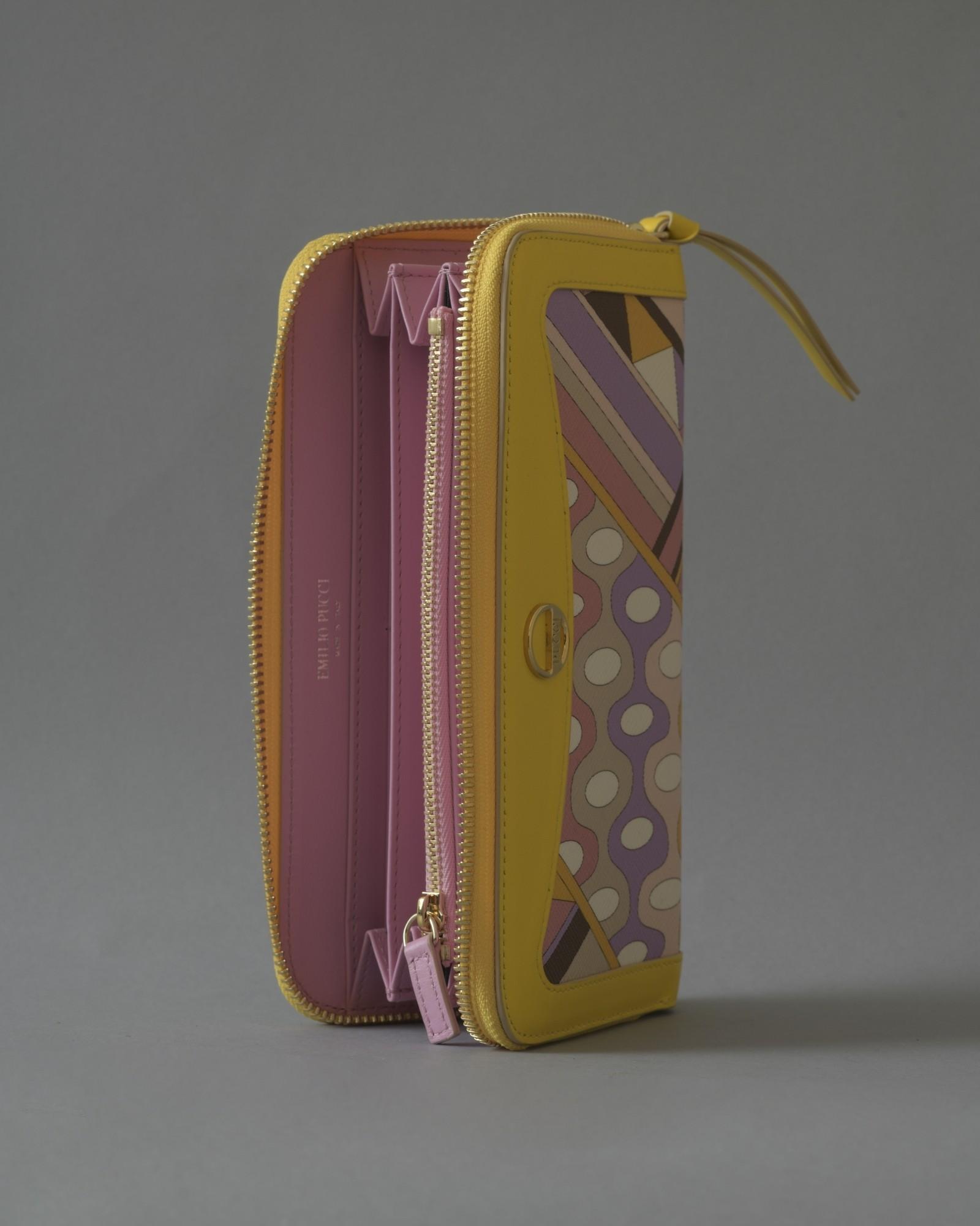 Portefeuille en cuir jaune texturé long Emilio Pucci