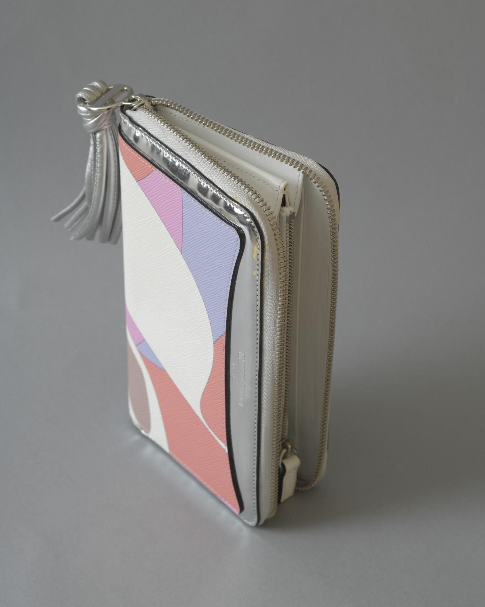 Portefeuille en cuir blanc texturé long Emilio Pucci