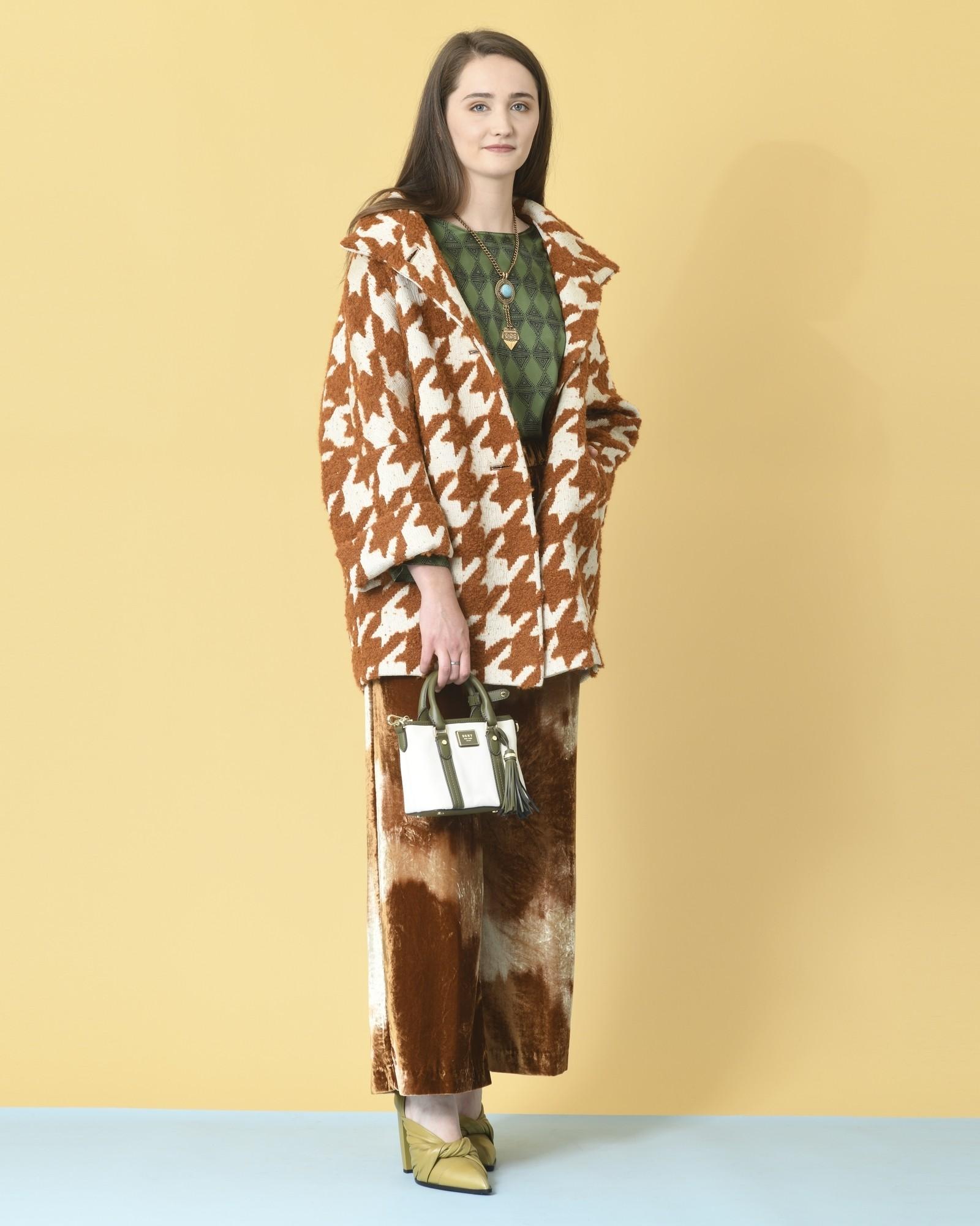 Manteau en laine mélangé pied-de-poule Mouche