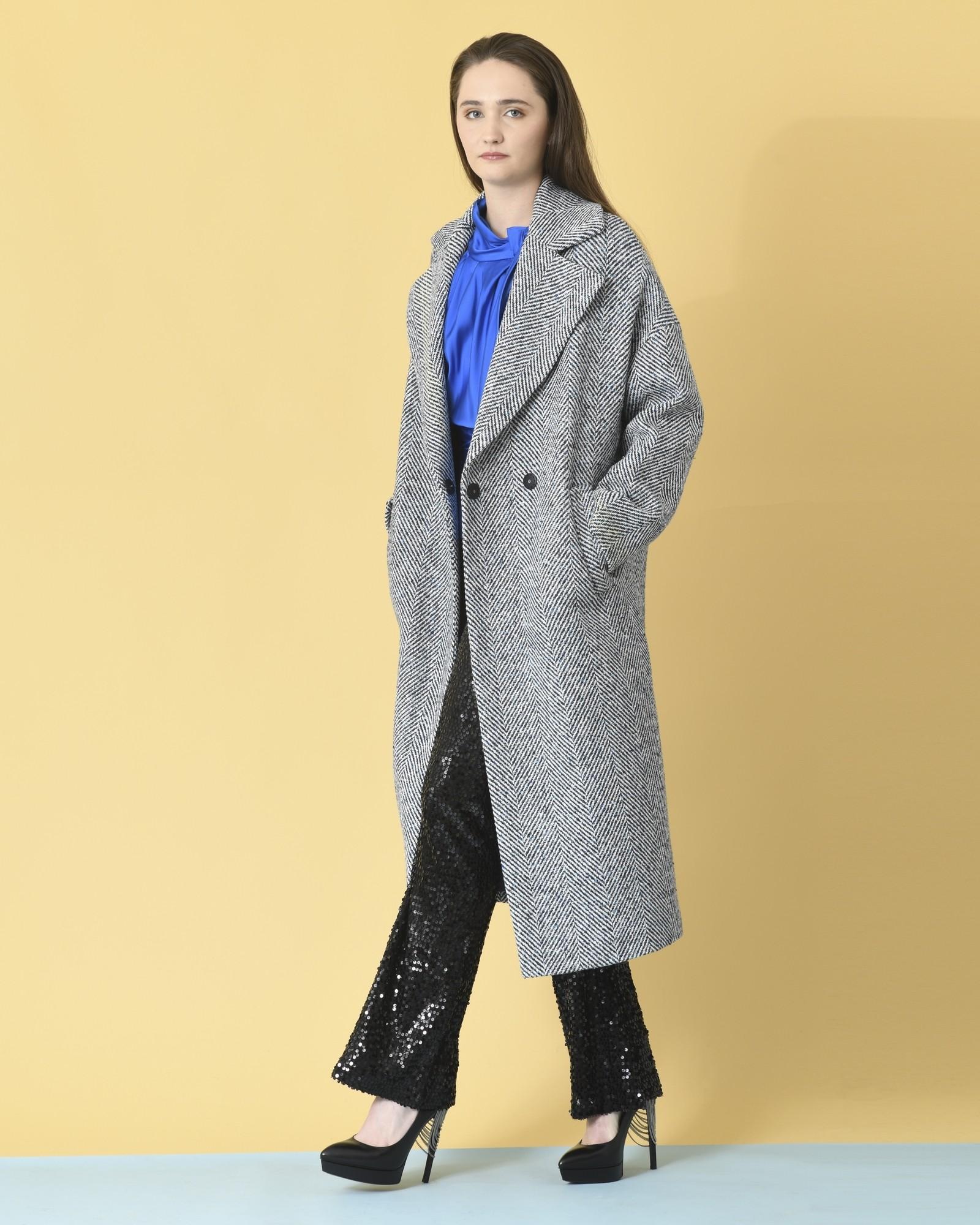 Manteau en laine mélangé à chevrons Mouche