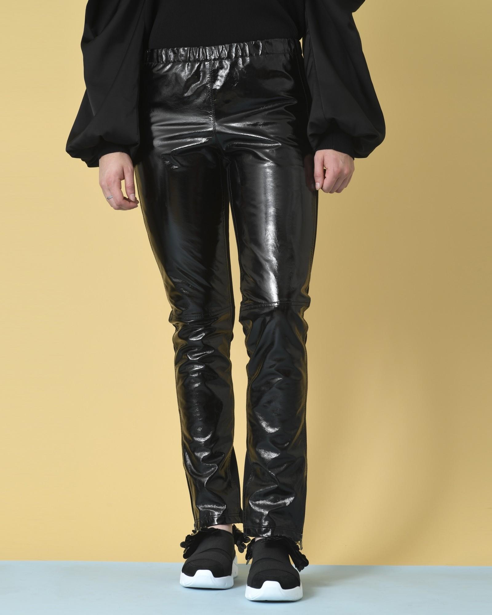 Pantalon bi-matière en cuir verni P.A.R.O.S.H