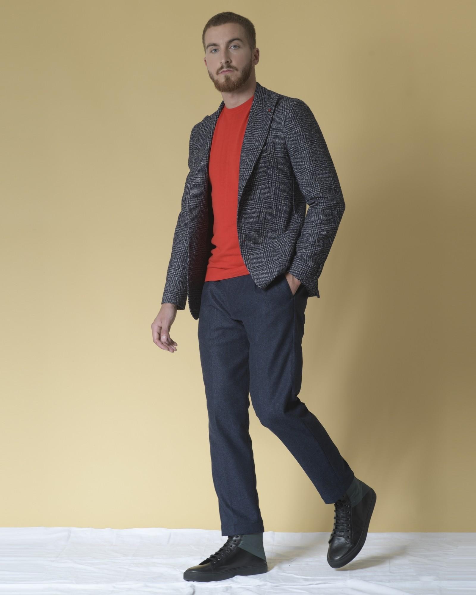 Pantalon fuselées en laine mélangée à motif chevron Cruna