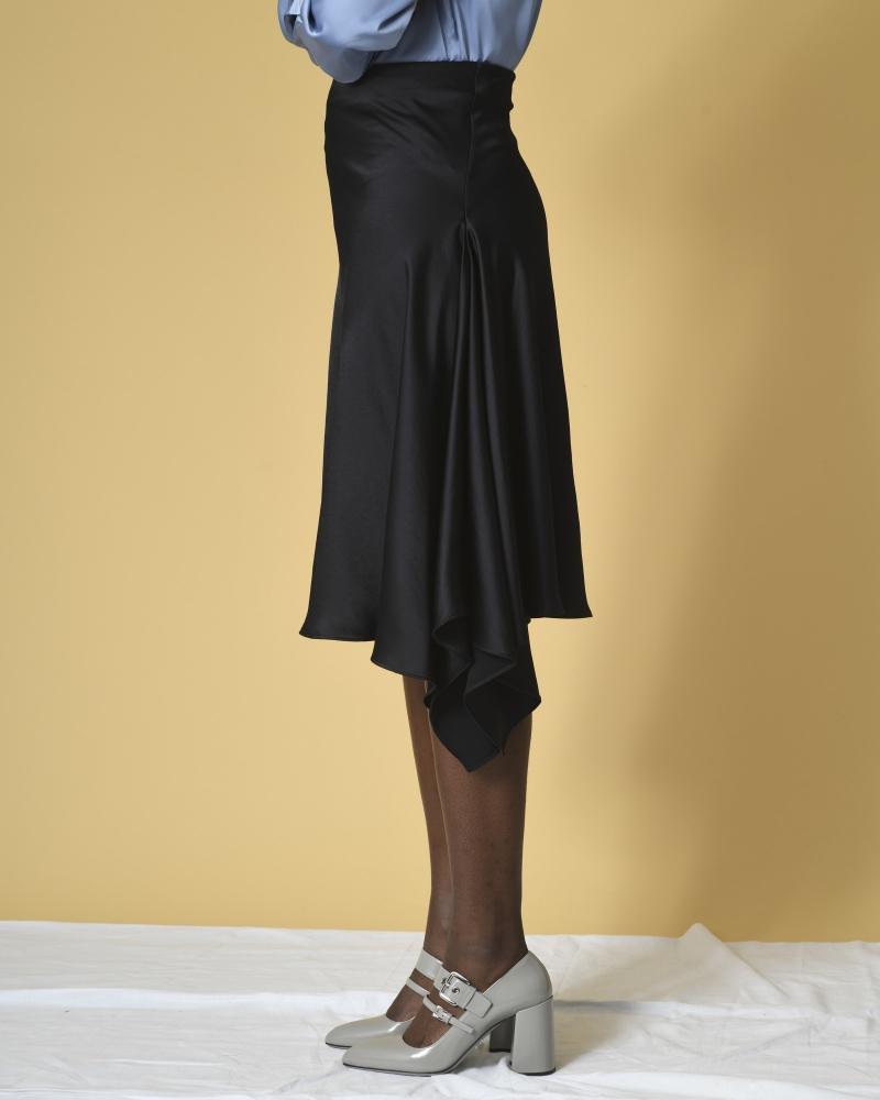 Jupe asymétrique en satin à drapé P.A.R.O.S.H