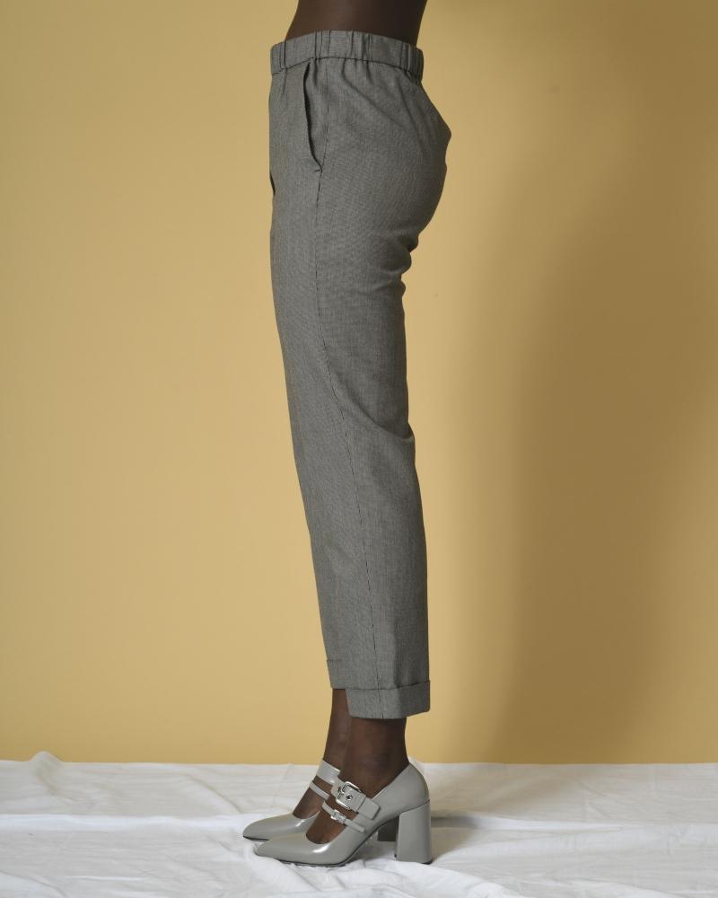 Pantalon en laine et coton à imprimé pied-de-poule Diega