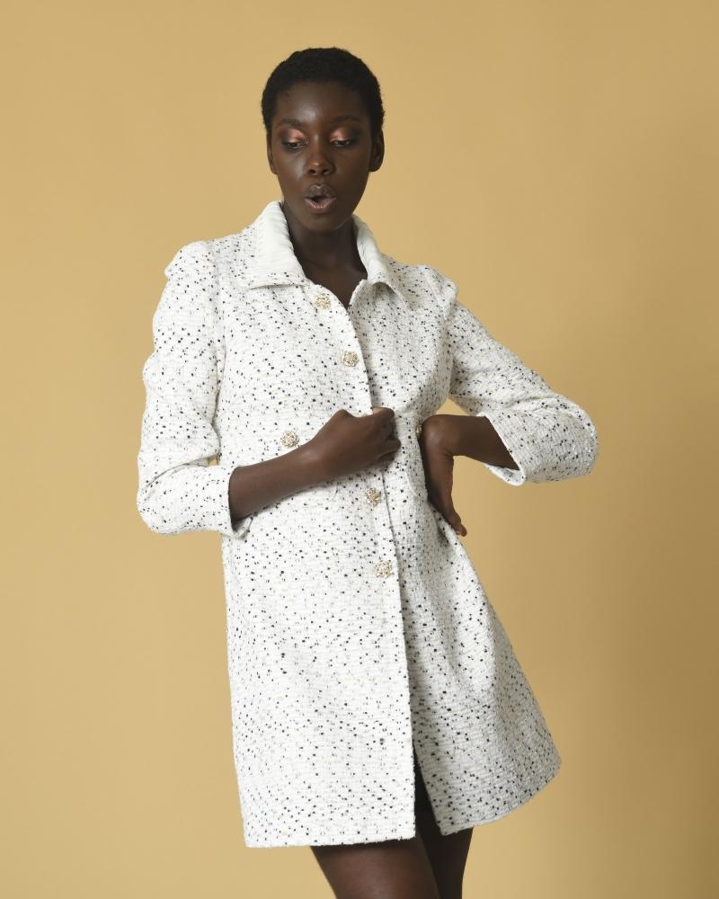 Manteau en tweed à boutons...