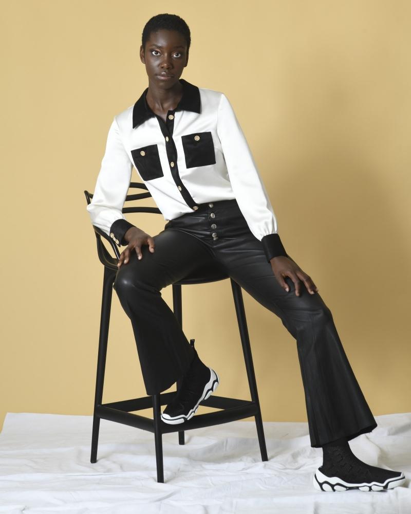 Pantalon patte d'eph en cuir noir Each Other