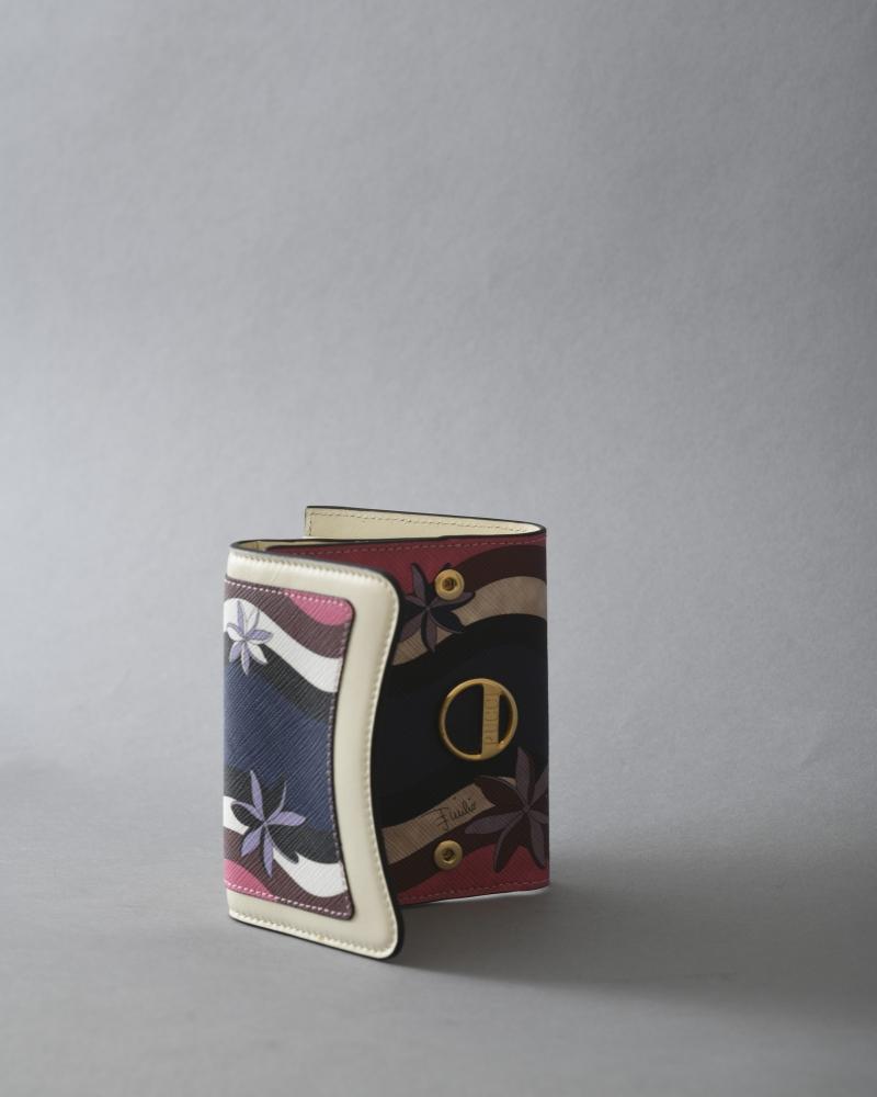 Portefeuille en cuir texturé imprimé Emilio Pucci