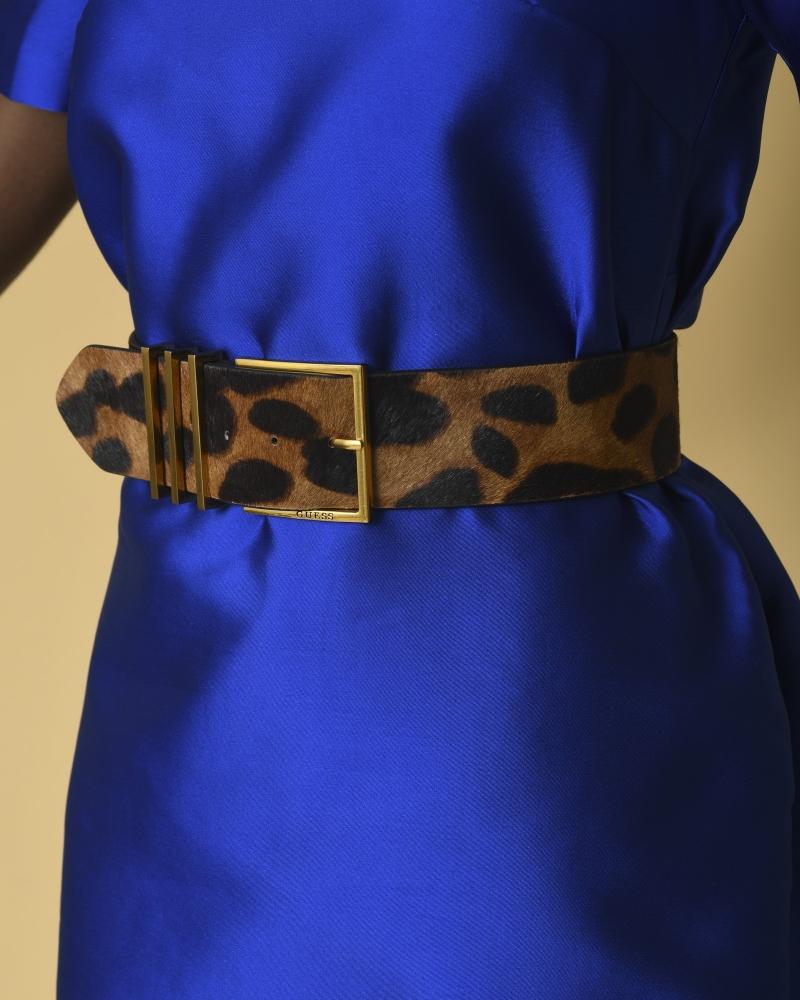 Ceinture en cuir fourré à imprimé léopard Guess