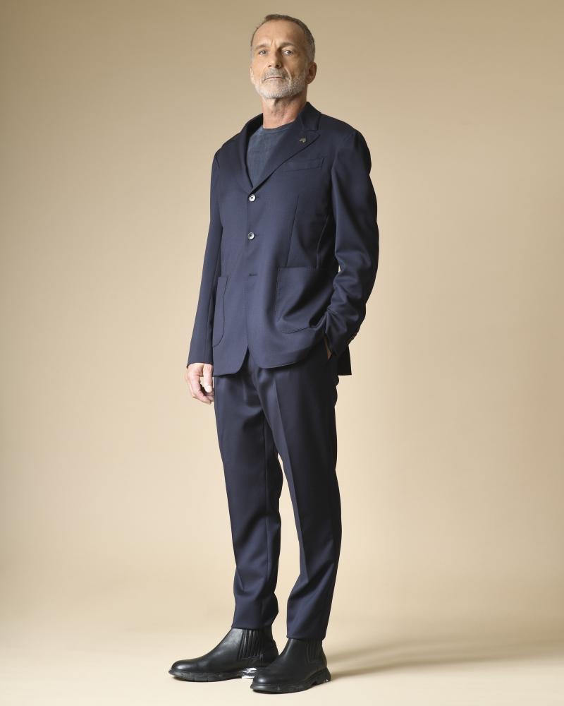 T-shirt bleu manches longues en cupro Daniele Fiesoli