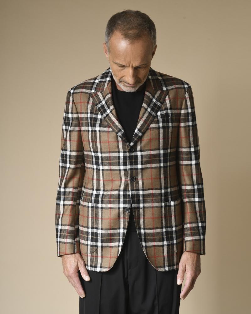 Veste en laine à motifs carreaux Gabriele Pasini