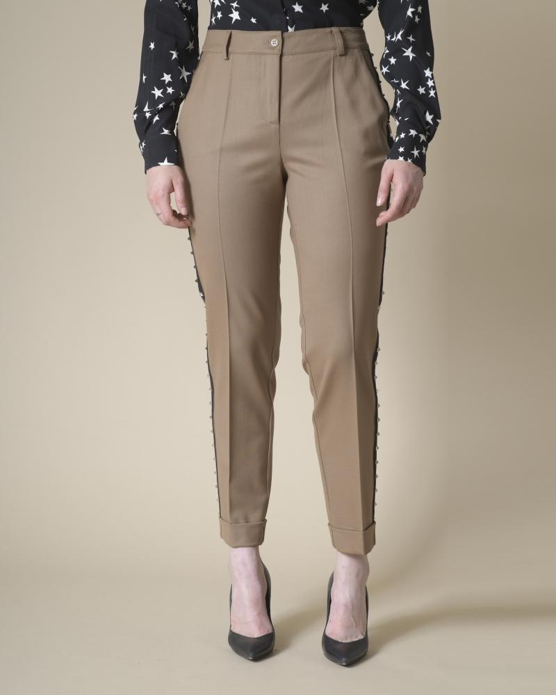 Pantalon en laine à clous...