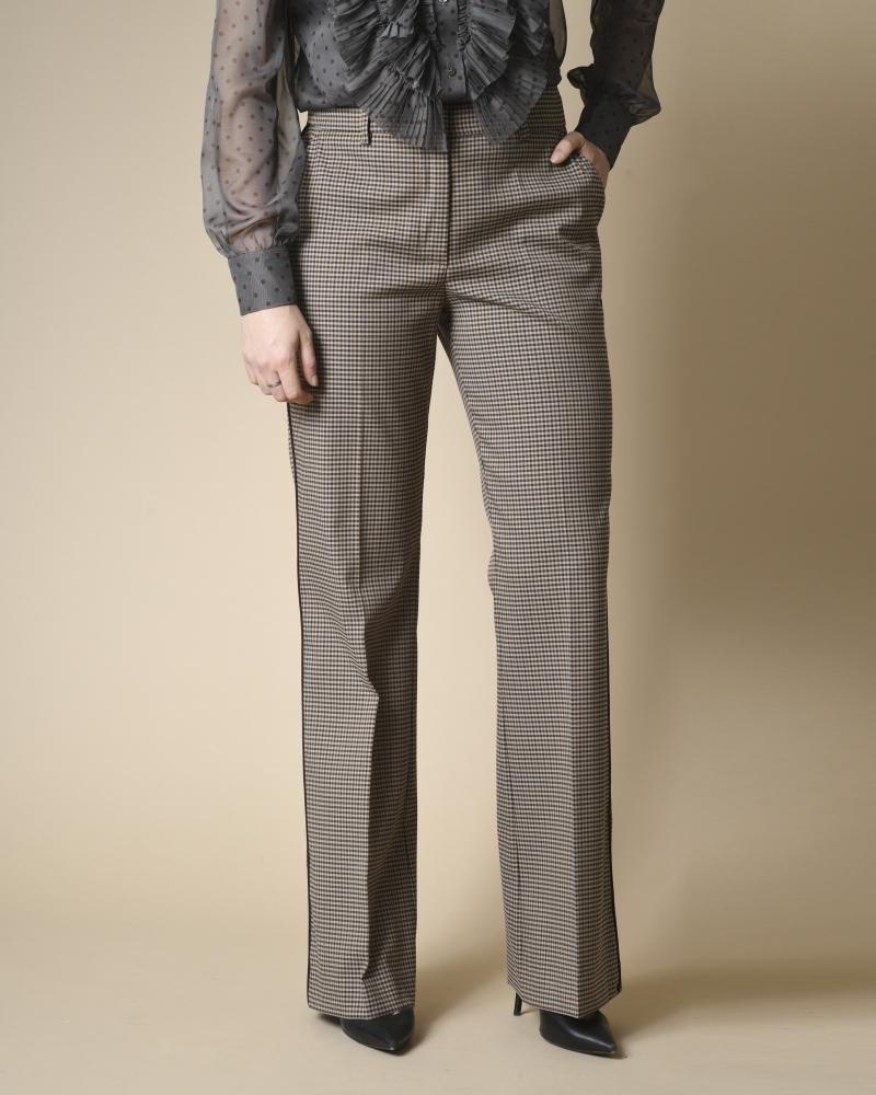 Pantalon évasé à carreaux...