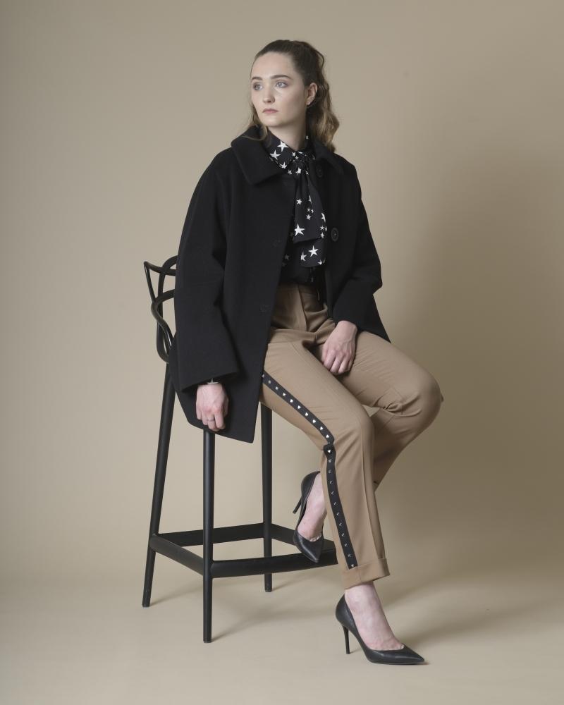 Manteau noir en laine vierge Mouche