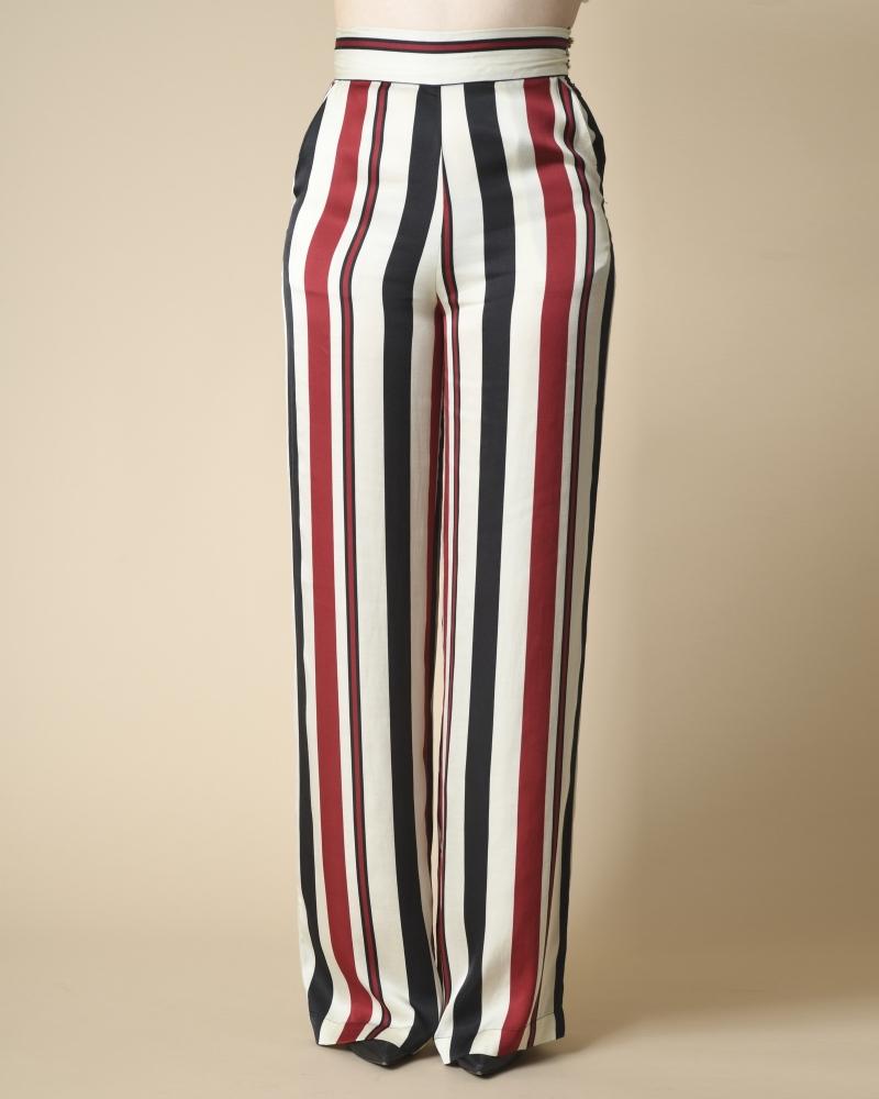 Pantalon large à rayures...