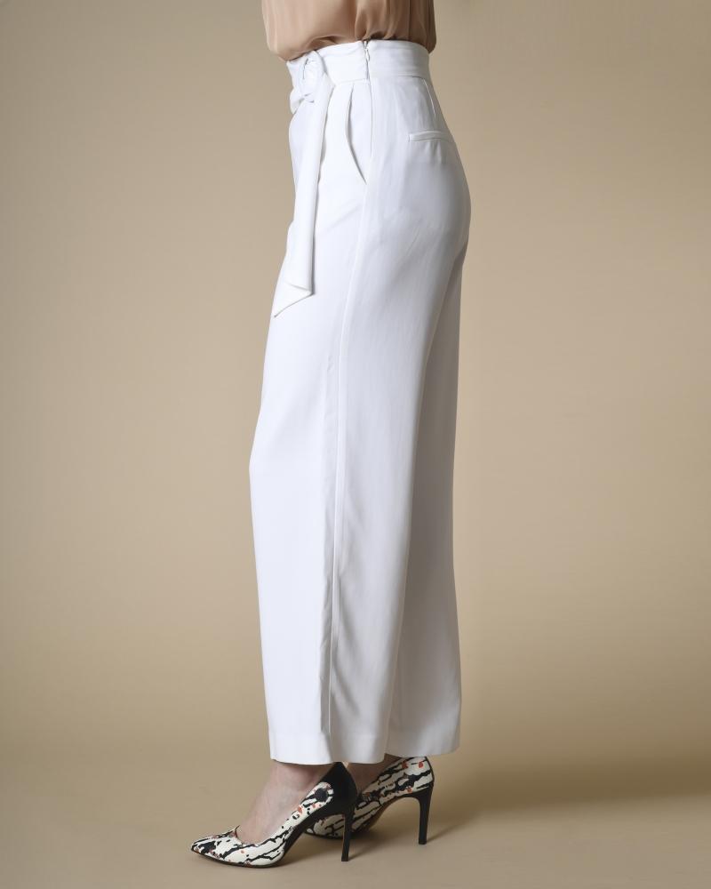 Pantalon tailleur large à ceinture Space Simona Corsellini