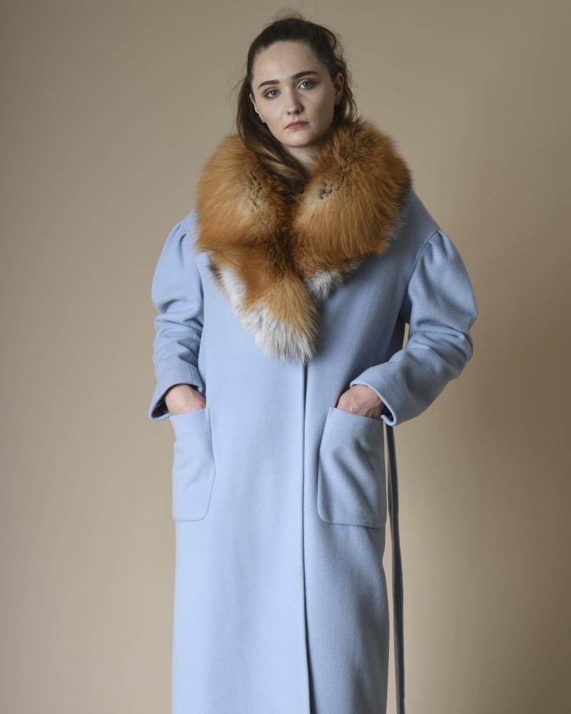 Manteau en laine mélangée à fourrure amovible Mouche