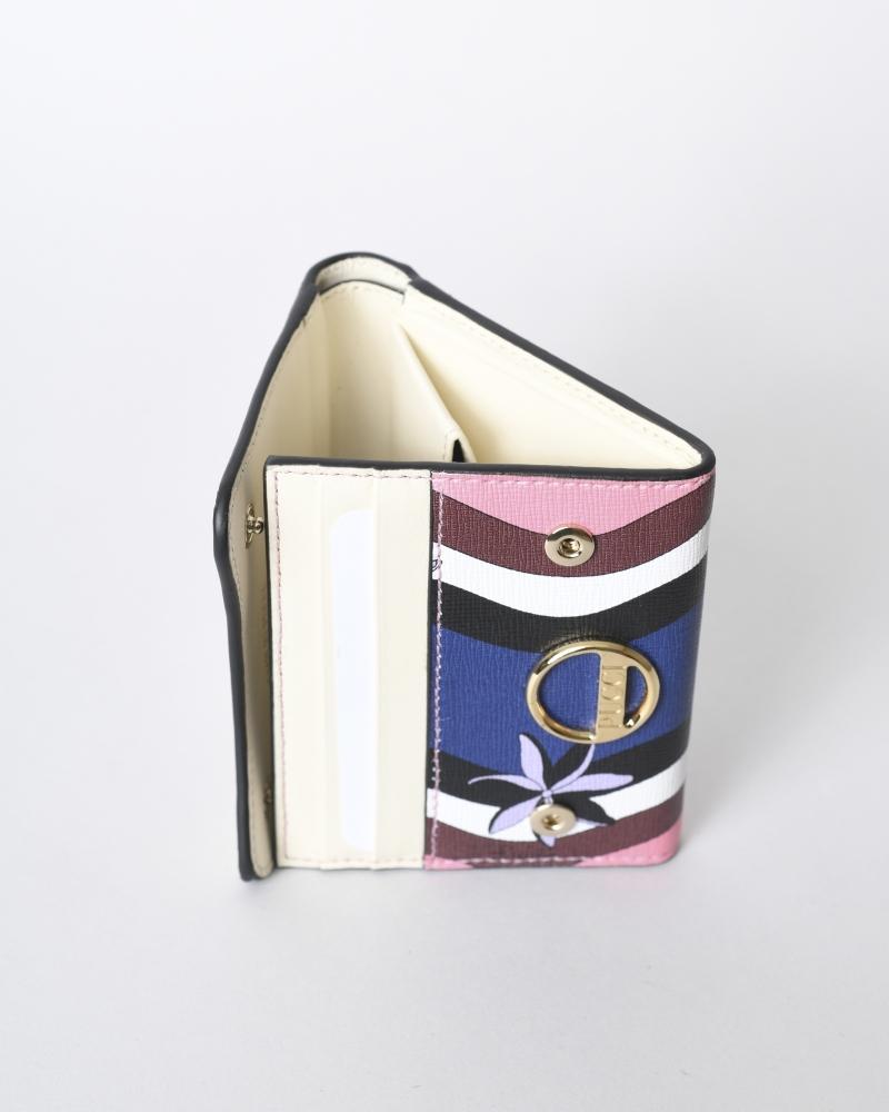 Porte monnaie en cuir texturé imprimé Emilio Pucci