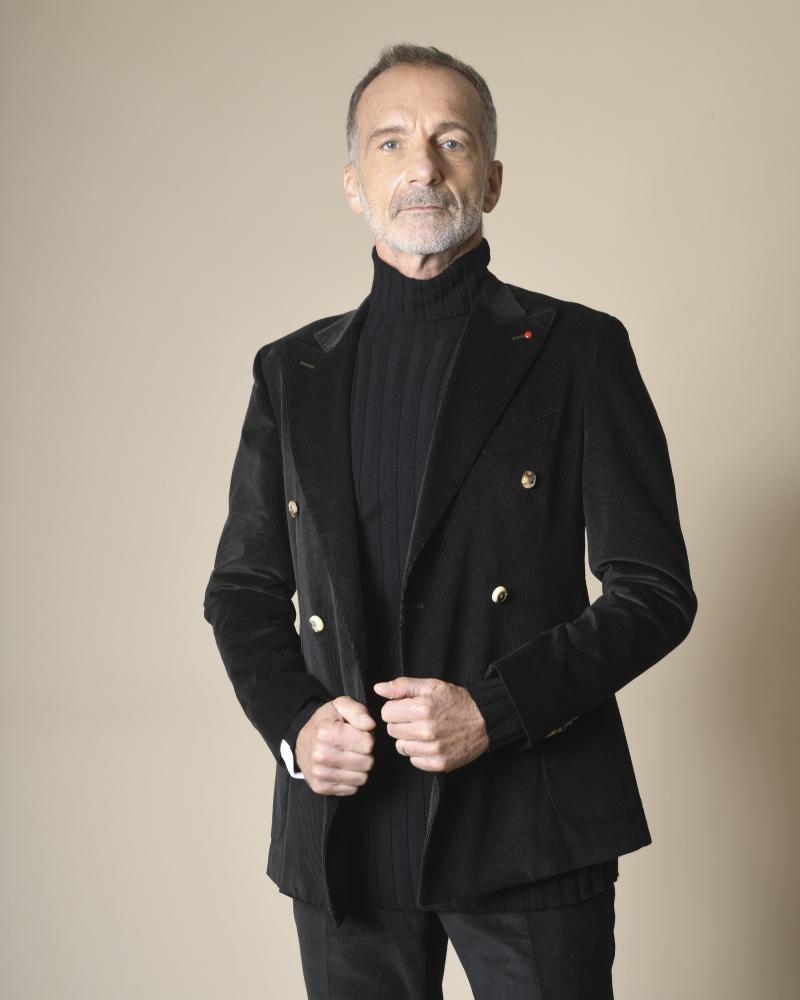 Costume noir en velours côtelé Fugàto