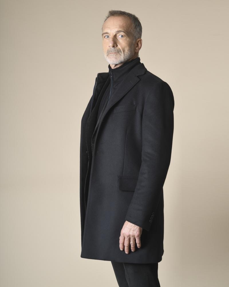 Manteau en laine à empiècements Corneliani