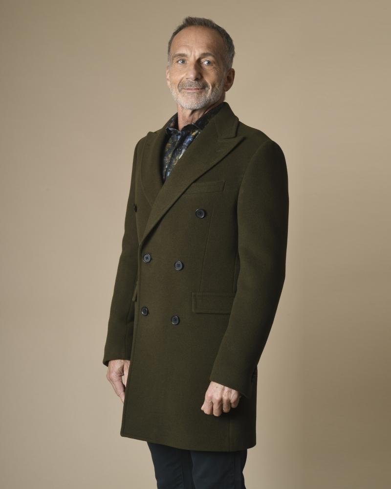Manteau en laine à double...