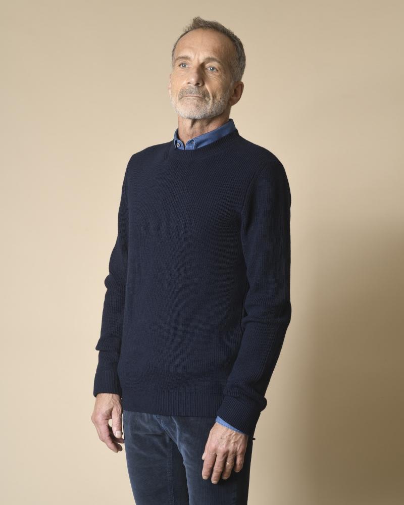 Pull bleu en laine mérinos Manostorti