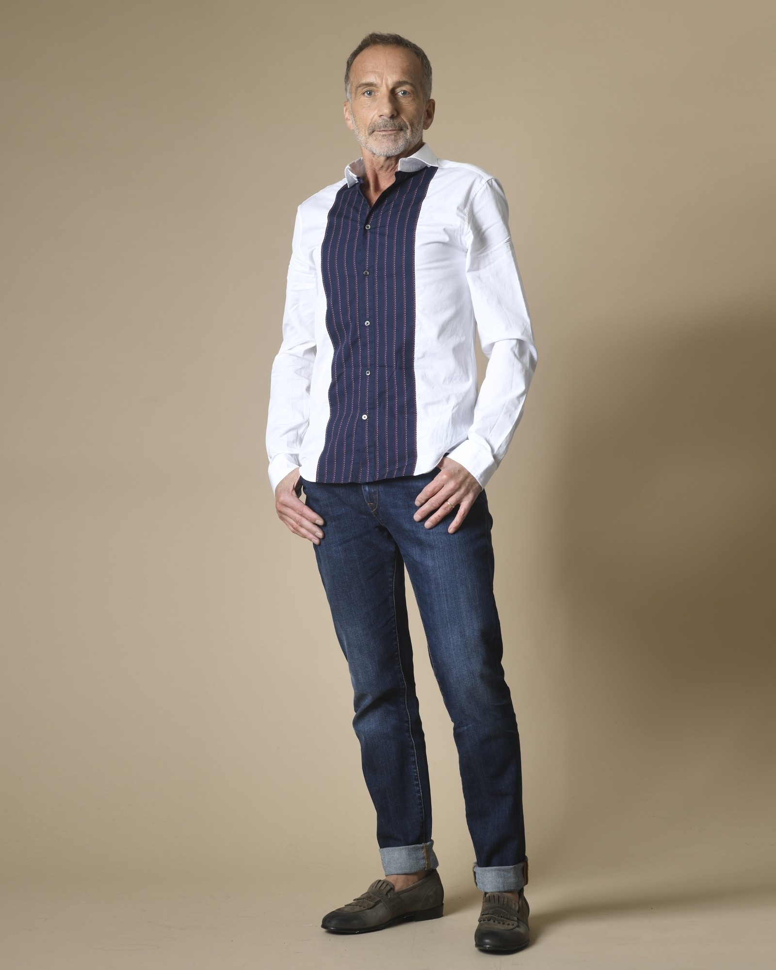 Chemise blanche et bleue à bande TOMMY HILFIGER