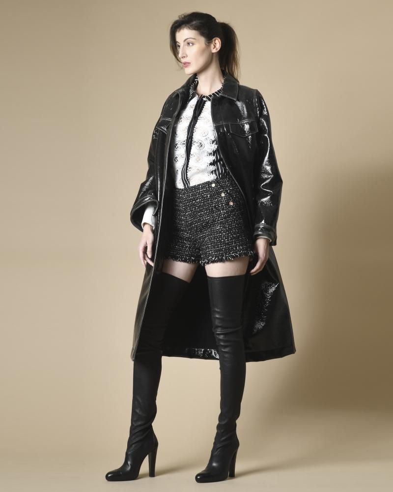 Manteau en vinyle texturé et laine Momoni