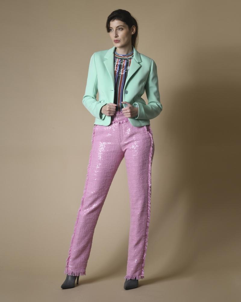 Pantalon en tweed effilé à sequins MSGM
