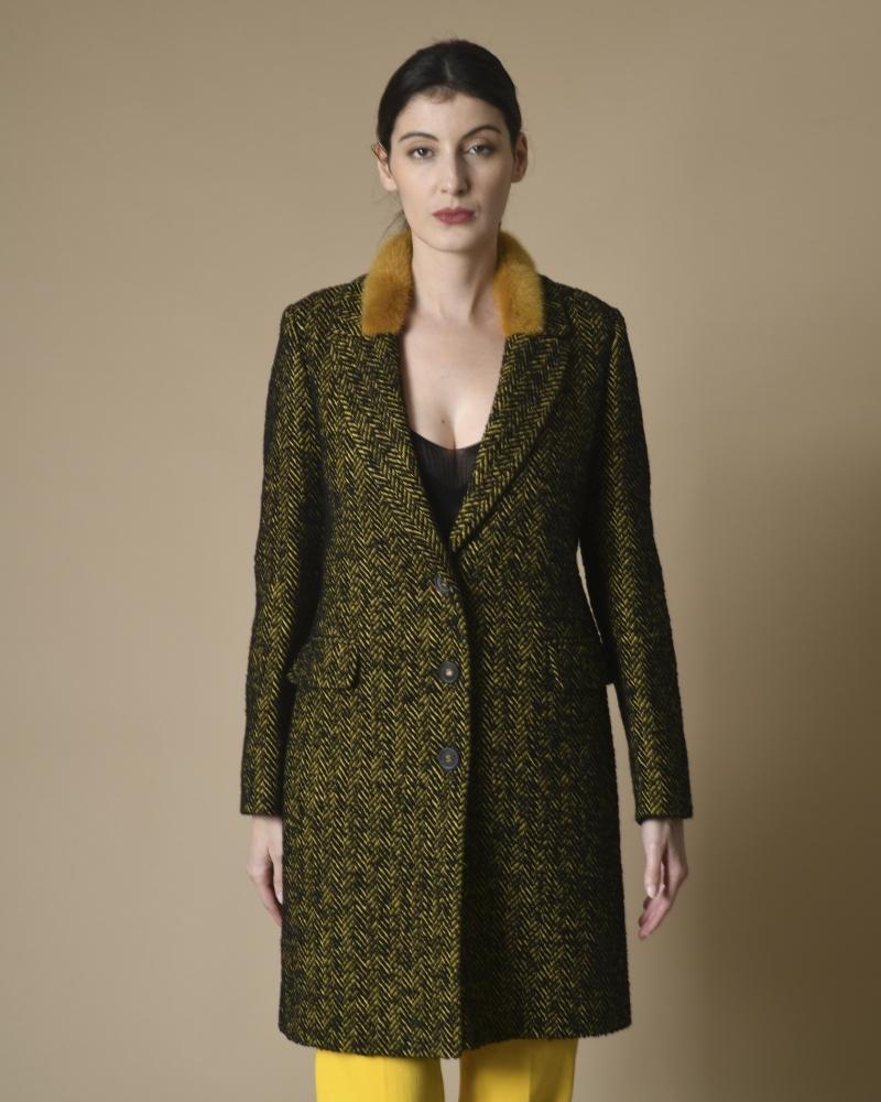 Manteau en coton mélangé à col fourrure Mouche