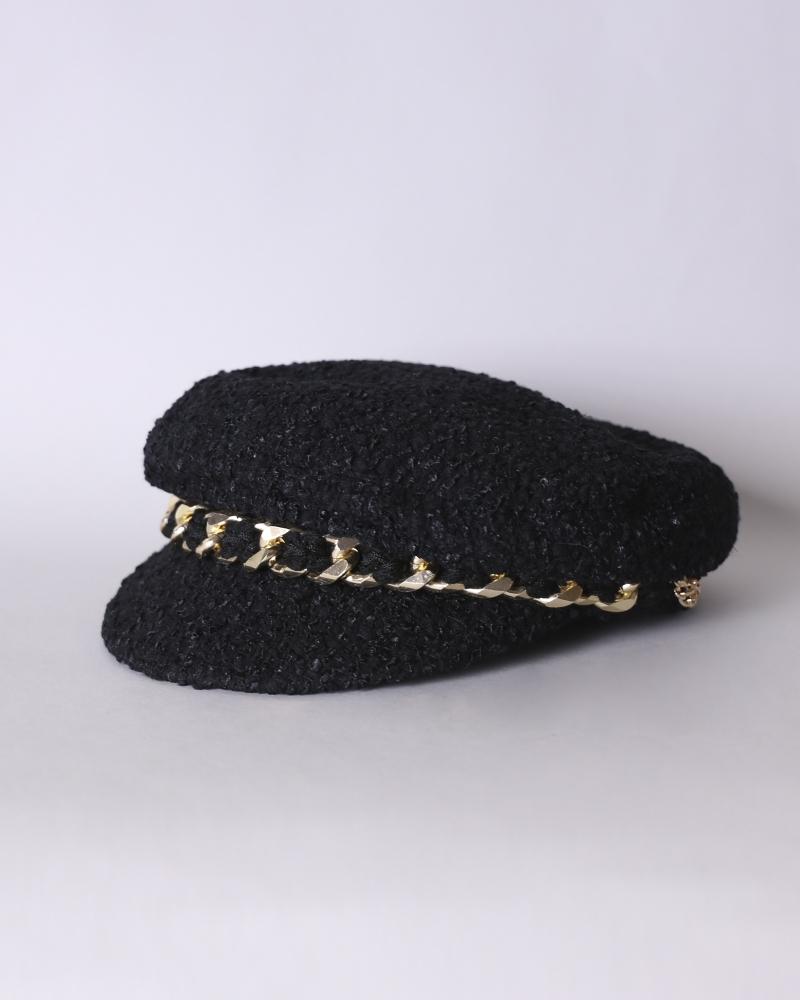 Beret en tweed noir Edward...